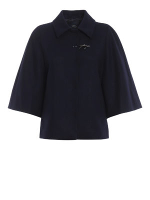 FAY: giacche casual - Giacca stile mantella in misto lana blu