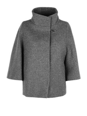 Fay: casual jackets - Cape style grey wool blend jacket