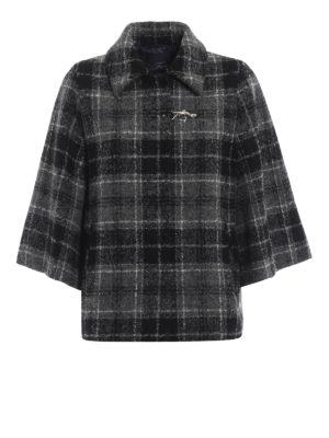 FAY: giacche casual - Giacca stile cappa in lana e alpaca a quadri