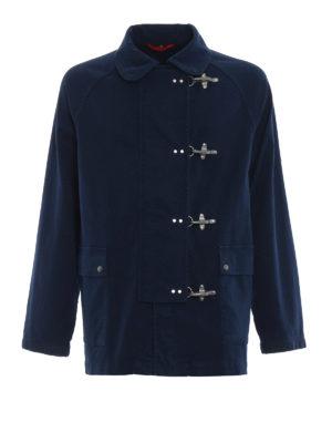FAY: giacche casual - Giaccone in tela di cotone blu