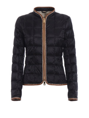Fay: casual jackets - Faux leather trims blue jacket