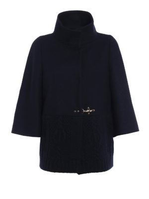 Fay: casual jackets - Knitted wool and cloth blue jacket