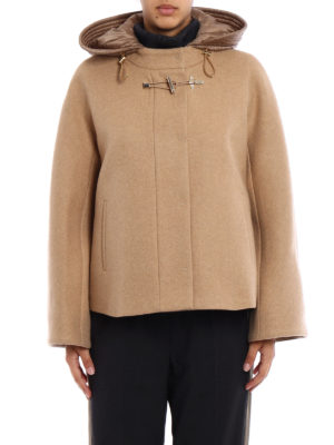 Fay: casual jackets online - Beige wool cloth flared jacket