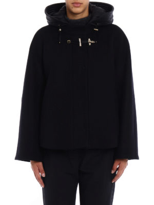 Fay: casual jackets online - Black wool cloth flared jacket