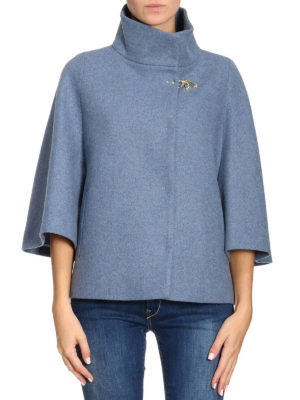 Fay: casual jackets online - Cape style azure wool blend jacket