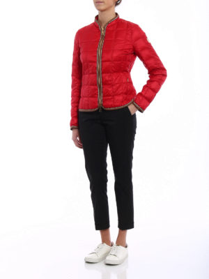 Fay: casual jackets online - Faux leather trims red jacket