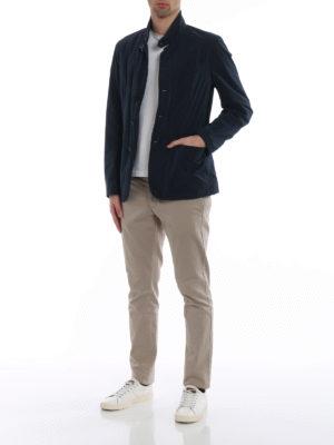 Fay: casual jackets online - Techno taffeta blue blazer