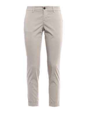 Fay: casual trousers - Beige chino trousers with turn-ups