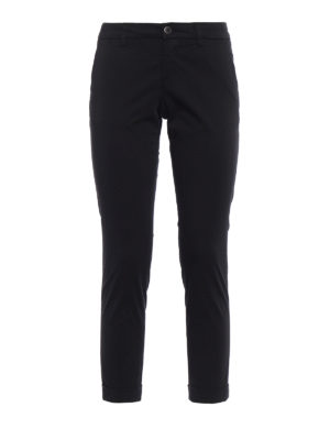 Fay: casual trousers - Black chino trousers with turn-ups