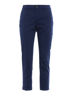 Fay: casual trousers - Blue chino trousers with turn-ups