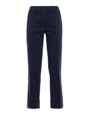 Fay: casual trousers - Blue cotton straight leg trousers