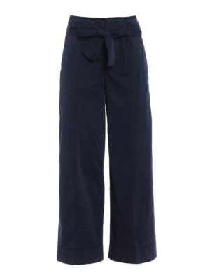 Fay: casual trousers - Blue cotton wide crop trousers
