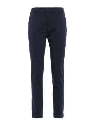 Fay: casual trousers - Blue stretch cotton trousers