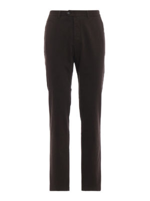 FAY: pantaloni casual - Pantaloni chino marroni in cotone stretch