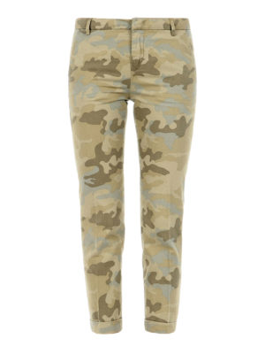 Fay: casual trousers - Camouflage print crop trousers