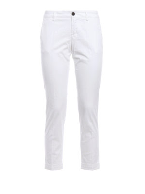 Fay: casual trousers - Cotton sateen crop trousers