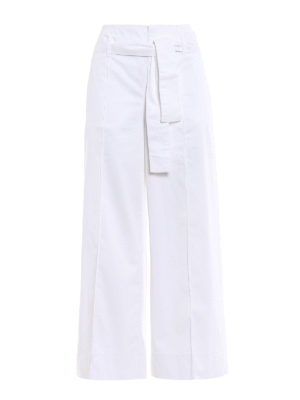 Fay: casual trousers - Cotton wide crop trousers