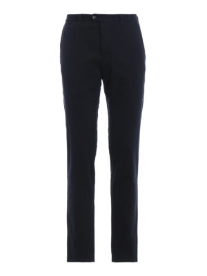 FAY: pantaloni casual - Pantaloni chino blu in cotone stretch