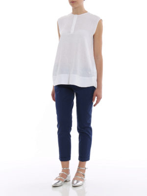 Fay: casual trousers online - Blue chino trousers with turn-ups