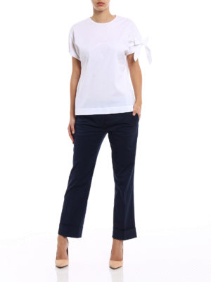 Fay: casual trousers online - Blue cotton straight leg trousers