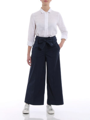Fay: casual trousers online - Blue cotton wide crop trousers