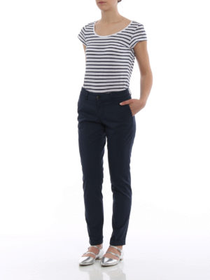 Fay: casual trousers online - Blue stretch cotton trousers