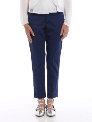 Fay: casual trousers online - Cotton sateen crop trousers