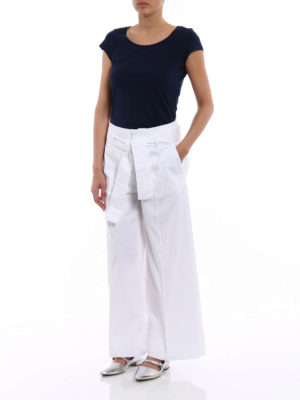 Fay: casual trousers online - Cotton wide crop trousers