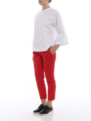 Fay: casual trousers online - Logo and turn-up crop trousers