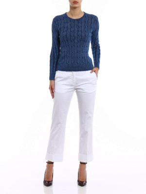 Fay: casual trousers online - White cotton straight leg trousers