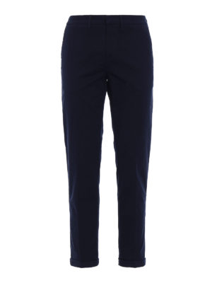 Fay: casual trousers - Ribbed blue fustian chino trousers