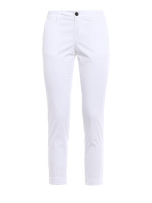 Fay: casual trousers - White chino trousers with turn-ups
