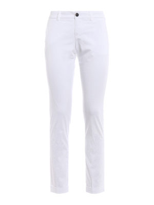 Fay: casual trousers - White stretch cotton trousers