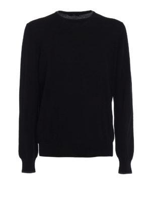 Fay: crew necks - Contrast elbow patch black sweater