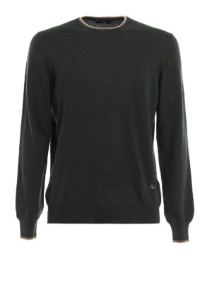 Fay: crew necks - Contrasting elbow patch sweater