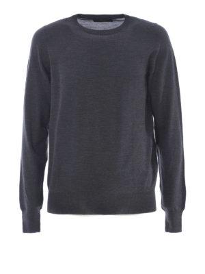 Fay: crew necks - Dark grey extra fine wool sweater