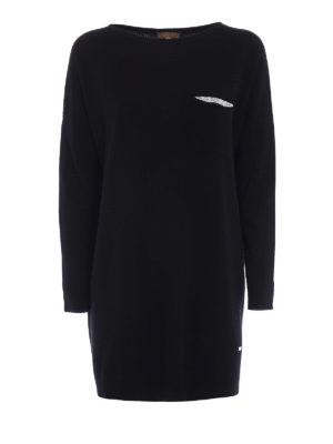 Fay: crew necks - Embellished wool blend long sweater