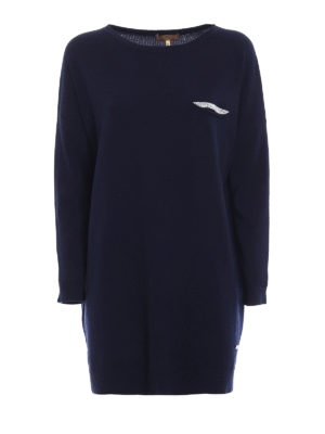 Fay: crew necks - Embellished wool long sweater
