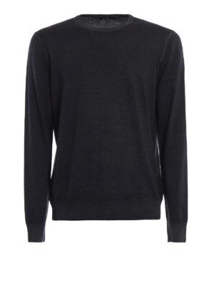 FAY: maglia collo rotondo - Girocollo in lana pettinata nero carbone