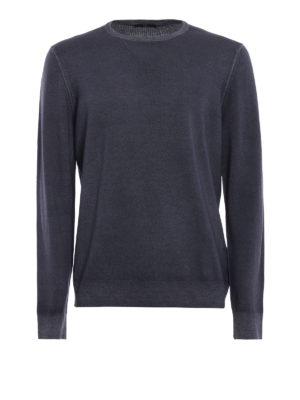 FAY: maglia collo rotondo - Girocollo in lana pettinata blu avio