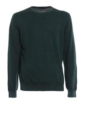 FAY: maglia collo rotondo - Girocollo verde bosco in lana pettinata