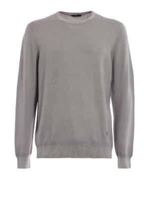 FAY: maglia collo rotondo - Girocollo in lana pettinata greige