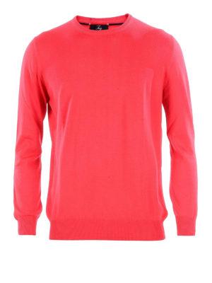 FAY: maglia collo rotondo - Girocollo in cotone rosso chiaro