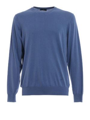 Fay: crew necks - Lightweight cotton blue crewneck