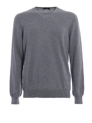 Fay: crew necks - Lightweight grey wool sweater