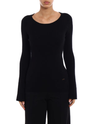Fay: crew necks online - Bell sleeves ribbed wool crewneck