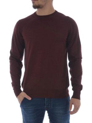Fay: crew necks online - Burgundy extra fine wool sweater