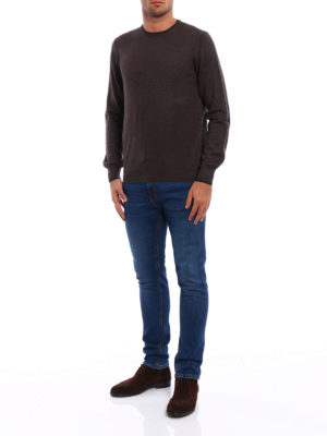 Fay: crew necks online - Contrasting elbow patch sweater