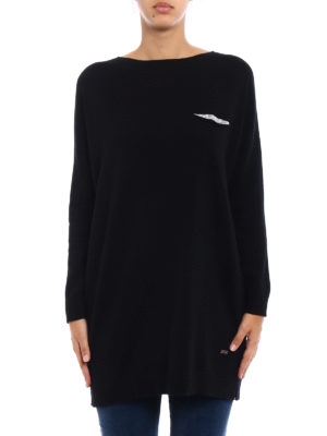 Fay: crew necks online - Embellished wool blend long sweater
