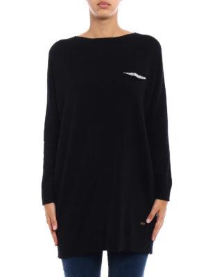 Fay: crew necks online - Embellished wool blend long sweater